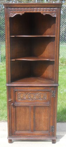 Antique Style Standing Carved Corner Cupboard